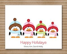 penguin family christmas card note cards notecards personalized set of 8 1200