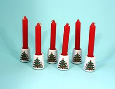 Set of Six Christmas Tree Small Candle Holders with Candles
