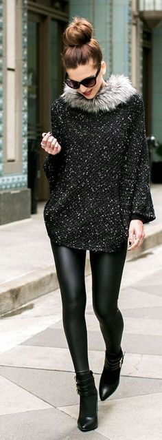 Steve Madden Black Sequin Faux Fur Collar Poncho