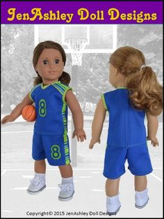 JenAshley Doll Designs Shootin' Hoops Basketball Uniform Doll Clothes Pattern for American Girl Dolls | Pixie Faire