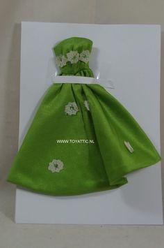 Barbie sized fashion fur Petra von Plasty no. 5805 long green evening dress #plasty