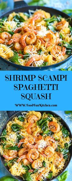 SHRIMP SCAMPI SPAGHETTI SQUASH - Food Fun Kitchen Every person's preferred shrimp scampi with a low-carb, healthier opportunity to pasta the use of spaghetti squash! Shrimp And Squash Recipe, Healthy Recipes, Cooking Recipes, Healthy Foods, Delicious Recipes, Yummy Yummy, Keto Recipes, Vegetarian Recipes, Yummy Food