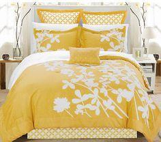 Yellow Master Bedroom Bedding Luxury Queen Size 7 Piece Comforter Set