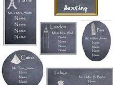 Chalkboard with cities/countries table seating ideas
