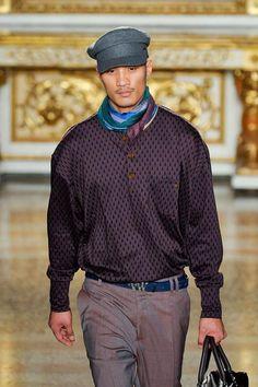 Vivienne Westwood Men's A/W '12 Men's/ eccentric, men's hat, pattern, asian model. I don't know about the clothes but he is hot