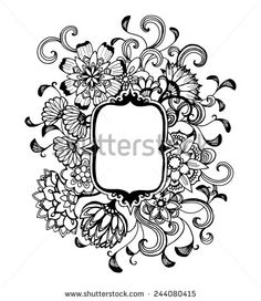 hand drawn flower design frame in black ink, elegant vintage style fancy floral doodle pattern of fancy curls and line design elements on white background paper with copyspace, blank flower text box