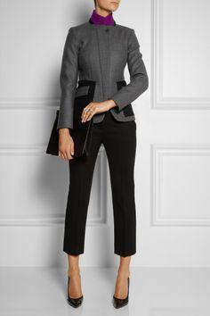 Etro Leathertrimmed Woolblend Jacket in Gray   Lyst