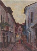 '' Street in Edessa ''   Oil on Canvas ,  60 x 45 cm. by Hector Doukas (Greek, 1885–1969)