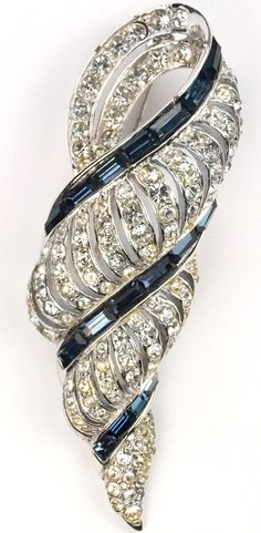 Boucher Pave and Sapphire Baguettes Seashell Swirl Pin