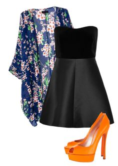 """Orange"" by karlita-grace ❤ liked on Polyvore featuring RED Valentino and Casadei"