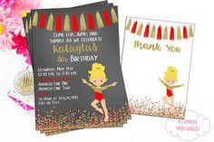 Gymnastics Digital Invitation  Red and Gold Invite