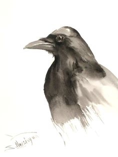 Crow Head original watercolor painting 12 X 9 in by ORIGINALONLY