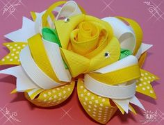 Yellow Fancy Rose Stacked boutique style  bow Special by fancybows
