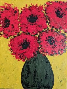 Red flowers painting, abstract flowers, floral art, abstract florals Abstract Flowers, Painting Abstract, Red Flowers, Creative Art, Painted Furniture, Florals, Etsy Seller, Unique Jewelry, Handmade Gifts