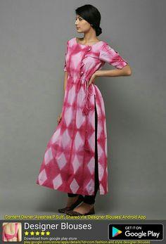 Pink Grey Tie and Dye Cotton Kurti Western Dresses, Indian Dresses, Indian Outfits, Kurti Patterns, Dress Patterns, Kurta Designs, Blouse Designs, Indian Fashion, Ethnic Fashion