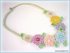 Pastel flowers soutache necklace