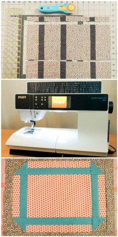 Performance 5.2, PFAFF sewing machine, strip pieced handle units, pieced platter block