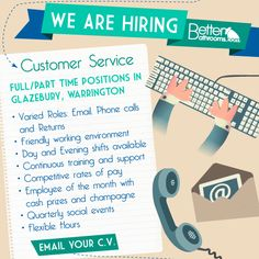 We need our customers to know that they're in safe hands, which is why we take our customer service experience so seriously. So if you're interested in providing a quality service for a growing company, we'd love you to join our team. Email your CV and details to jobs@betterbathrooms.com to apply.