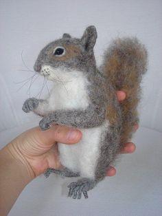 Needle Felted Squirrel by Tamara111, via Flickr