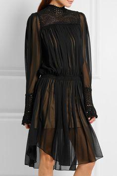 MAGDA BUTRYM AW 2016 - Black silk-chiffon Button fastenings along back silk; Silk Chiffon, Chiffon Dress, Magda Butrym, J Brand Jeans, Luxury Dress, Black Silk, Hand Crochet, Gowns, Cotton