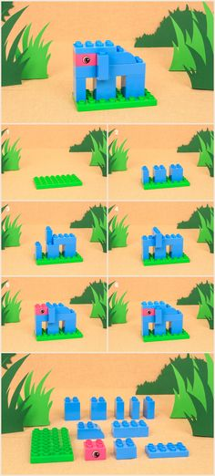 Here's how you and your toddler can build a cute elephant, with just a few LEGO DUPLO bricks! Here's how you and your toddler can build a cute elephant, with just a few LEGO DUPLO bricks! Lego Design, Lego Therapy, Construction Lego, Lego Challenge, Lego Activities, Lego Games, Lego Club, Lego For Kids, Lego Blocks