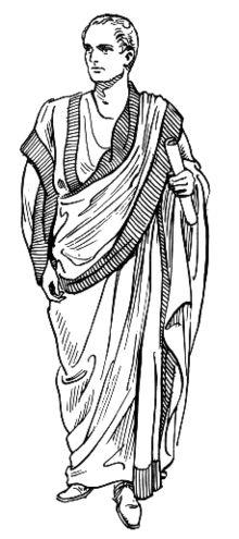 HISTÓRIA DA MODA  (Creta,Grécia,Etrúria e Roma)  Os Romanos Utilizavam a Toga,a evolução da tabena etrusca.  O tamanho e a cor da Toga indicava a posição social ou a função de quem a usava.Era feita de lã num formato de semicírculo.  Existem cinco tipos de toga:  1° Toga praetexta: usada por meninos até a puberdade.  2° Toga Virilis: recebida numa cerimônia.  3° Toga luto: de cor escura.  4° Toga pallium: mais curta.  5° Toga estola: tiras de tecido.