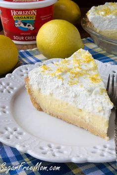 This Beautiful Keto Lemon Cream Pie is a low carb, gluten free and sugar-free sensation that even carb loving family and friends will enjoy! Diabetic Desserts, Sugar Free Desserts, Low Carb Desserts, Diabetic Recipes, Low Carb Recipes, Dessert Recipes, Paleo Dessert, Ketogenic Desserts, Bariatric Recipes