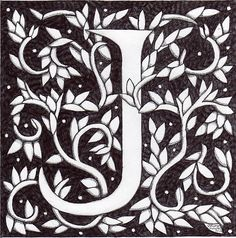 """'Art Nouveau """"J"""" (William Morris Inspired)' Framed Print by Donna Huntriss William Morris, Illuminated Letters, Illuminated Manuscript, Art Nouveau, Coloring Letters, Monogram Cross Stitch, Embroidery Alphabet, Embroidery Patterns, Mc Escher"""