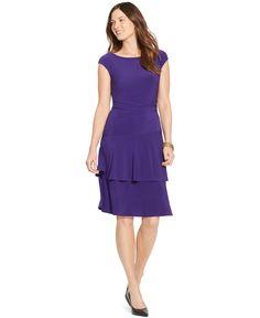 American Living Tiered Cap-Sleeve Dress - Dresses - Women - Macy's