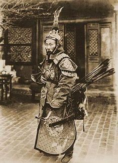 Photo by Auguste Francois, ca 1870, depicting Su Yuanchun, (1844-1908 AD) a Manchu general in Guangxi. A tough illiterate Manchu, Su Yuanchun was one of the last great warrior Manchus. He distinguished himself in the field and made it from a simple soldier to a distinguished general in a time when the Qing fought battles against modern firearms with sabers, spears, bows, arrows and matchlock muskets. He commanded a force against the French at the battle of Zhennan Passwhich and won.