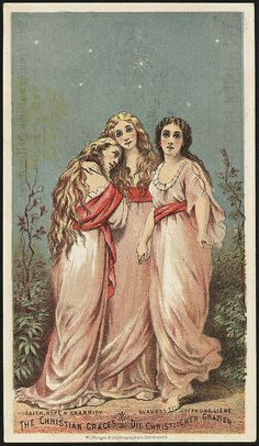 """The Christian Graces: Faith, Hope & Charity."" 19th century American trade card (circa 1870-1900)."