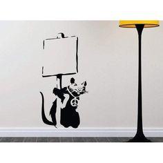 Banksy Rat Vandal Living Room Bedroom Hallway Kitchen Vinyl Wall Art Sticker