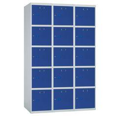 Taquilla metálica modular económica ECOP-40/3, de tres cuerpos y cinco puertas
