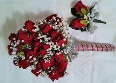 2pcs Wedding Bridal Bride Bouquet Groom Boutonniere Gem Jewelry Jewel RED WHITE