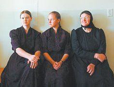 Mennonite women, the one with black headdress is married other 2 are not...this is what the women in my culture dress like, i still follow some of the culture but i do not wear the dresses (but i have 1 just incase for a funeral)