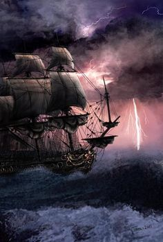 Rough Seas by Asynja on DeviantArt Pirate Art, Pirate Ships, Pirate Crafts, Stürmische See, Benfica Wallpaper, Sea Storm, Old Sailing Ships, Sea Tattoo, Rough Seas