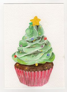 Christmas Tree Cupcake - Original Watercolor Painting | Flickr