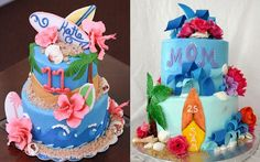 Surfer cakes for girls by Annie's Cakes, left and Ruth Pearse, right.