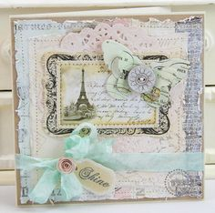 featuring the London Market line by Pink Paislee - made by Mona Pendleton Pretty Cards, Cute Cards, Diy Cards, Shabby Chic Karten, Shabby Chic Cards, Paris Cards, Ideas Geniales, Beautiful Handmade Cards, Butterfly Cards