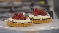 The most divine Chocolate Ganache, Lavender Cream and Raspberry Tart