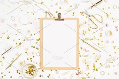 #Clipboard  Beauty blog background. Clipboard and gold style feminine accessories pattern. Golden tinsel scissors pen rings necklace bracelet on white background. Flat lay composition for entrepreneurs bloggers magazines websites social media and instagram. This purchase includes one high resolution sRGB JPEG file. License terms: http://ift.tt/1W9AIer