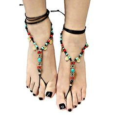 Boho Hippie Beaded Beach Barefoot Sandals Brown, Turquoise & Coral | Bay Bing