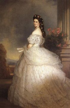Elisabeth of Bavaria in a Worth Gown, 1865.  Painted by Franz Xaver Winterhalter.