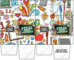Caixa de Leite  Dia do Professor Paper Art, Paper Crafts, Beautiful Gifts, Silhouette Projects, Origami, Envelope, Scrap, Teacher, Prints