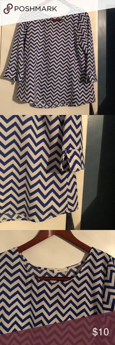 Everly chevron top Blue and white chevron top with 3/4 split sleeves Everly Tops Blouses