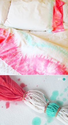 DIY: Pink + Mint tie dye sheets Uhhhhhh this for sure happening for my bed! duvet cover needs to be bought and new sheets too! Moving is always a good excuse to get new bedding :) Diy Tie Dye Sheets, Diy Tie Dye Duvet Cover, Diy Tie Dye Bedding, Diy Tie Dye Quilt, Tie Dye Bedroom, Shibori, Diy Projects To Try, Craft Projects, Ty Dye