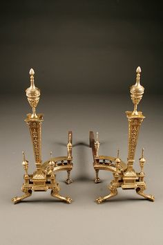 Pair of late 19th century French cast bronze andirons in 2nd Empire style, circa 1890. #antique #andirons