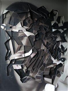 Lucas Simões (Brazilian b. 1980) M.L.C. | desmemória [unmemory] | 2011.  10 fotografias cortadas e sobrepostas entre chapas de acrílico | 10 cut-out photographs and acrylic layers | 41x31cm