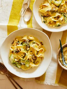 Sweet Corn Pesto Tossed with (50/50) Pappardelle + Zucchini Noodles