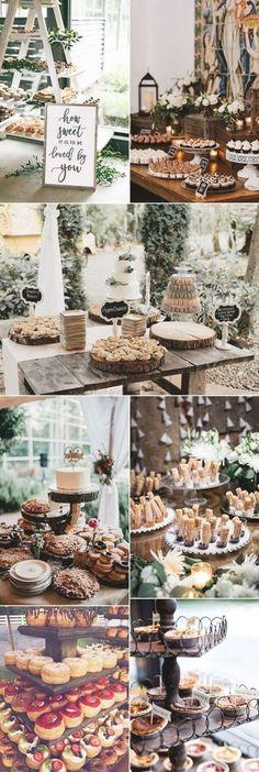 Wedding Desert Table, Rustic Wedding Desserts, Wedding Table Toppers, Dessert Bar Wedding, Wedding Sweets, Wedding Cake Stands, Wedding Tables, Sweet Table Wedding, Donut Bar Wedding